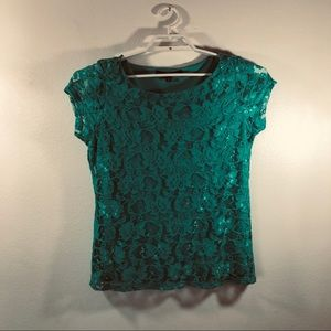 New Fever Layered Lace Overlay Blouse Womens Top